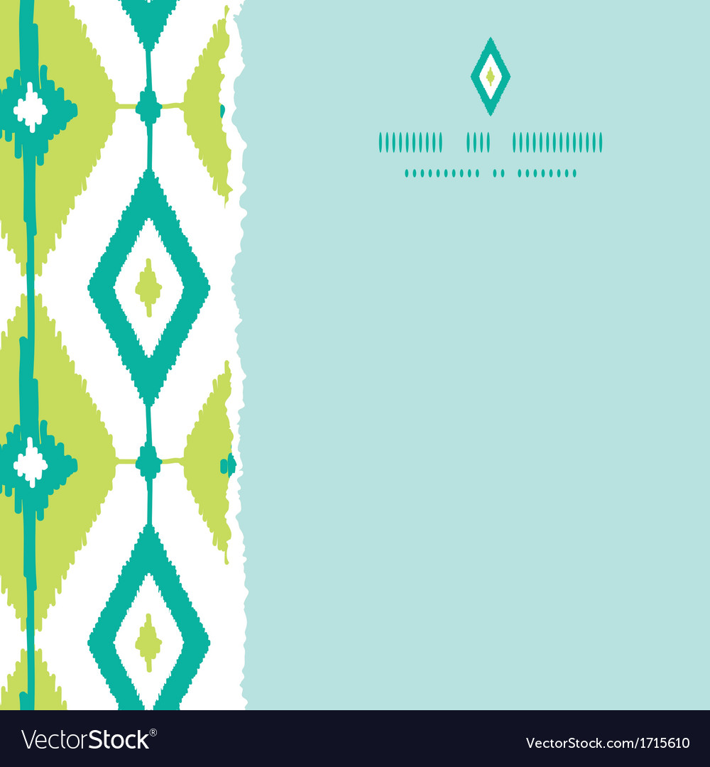 Emerald green ikat diamonds square torn seamless vector | Price: 1 Credit (USD $1)