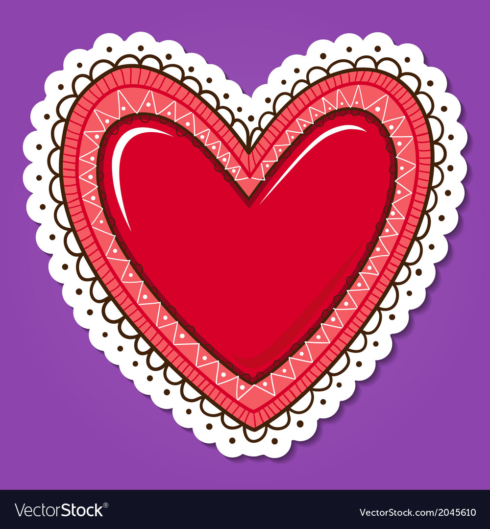 Glossy heart with lace edging vector | Price: 1 Credit (USD $1)