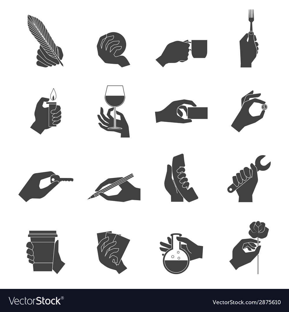 Hand holding objects black set vector | Price: 1 Credit (USD $1)