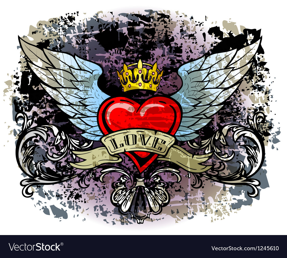 Heart with wings vector | Price: 1 Credit (USD $1)