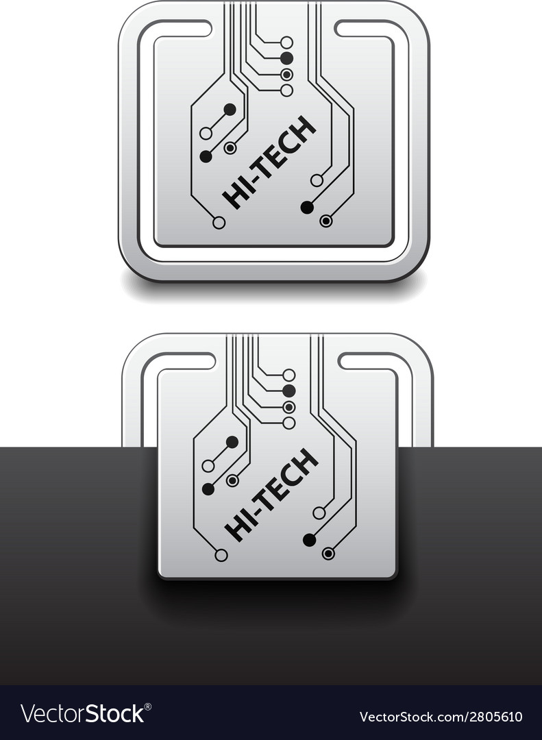 Hi-tech square circuit board attached labels vector | Price: 1 Credit (USD $1)