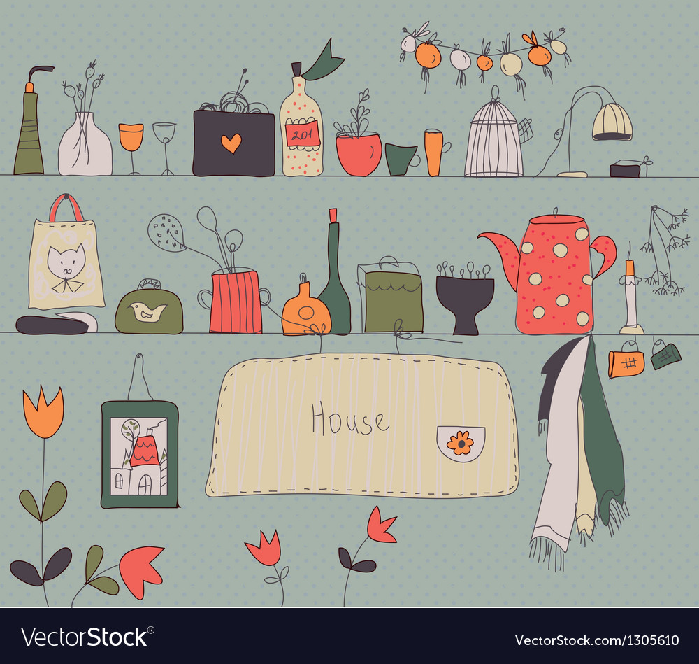 Kitchen shelf vintage background vector | Price: 1 Credit (USD $1)