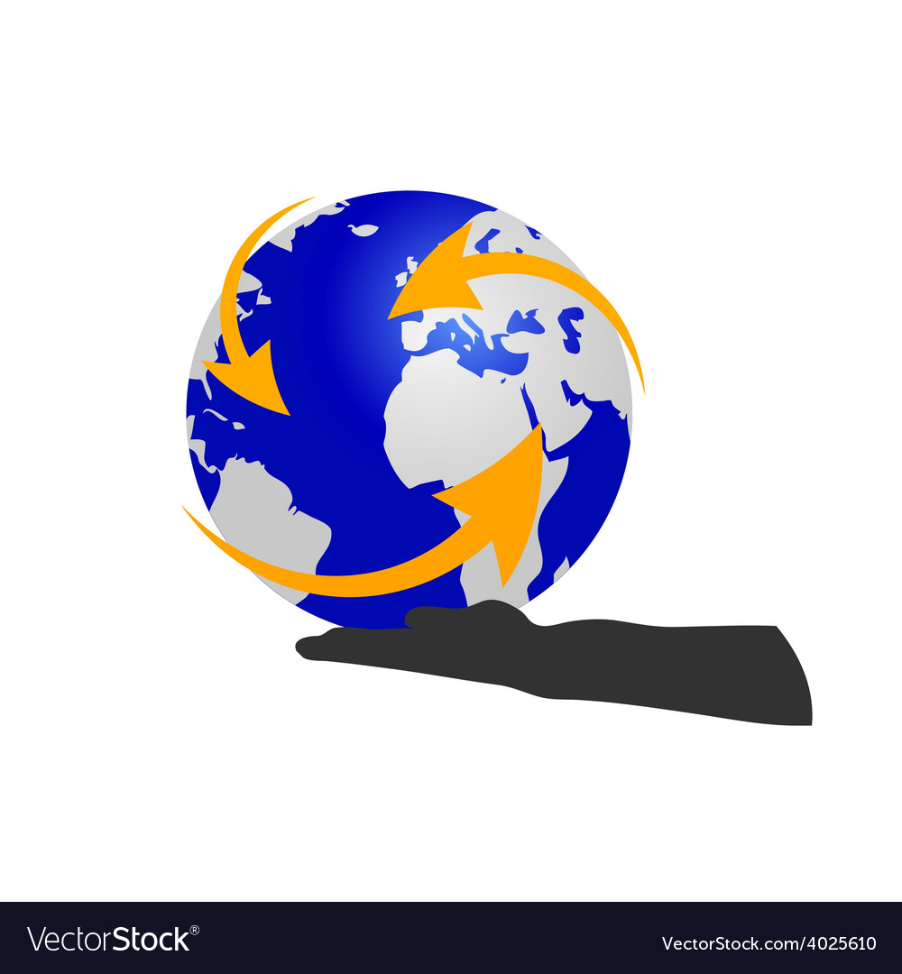 Planet in hand color vector | Price: 1 Credit (USD $1)