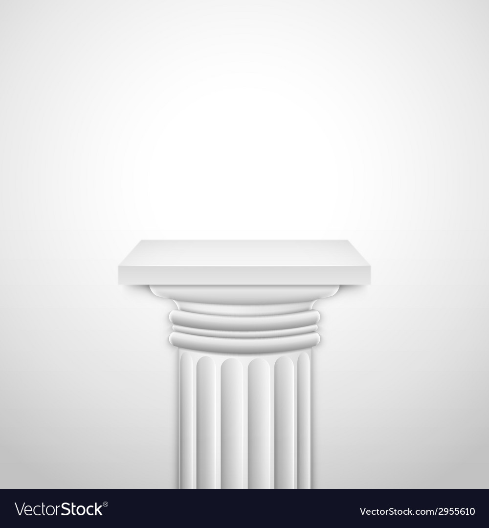 Realistic classic empty white column vector | Price: 1 Credit (USD $1)