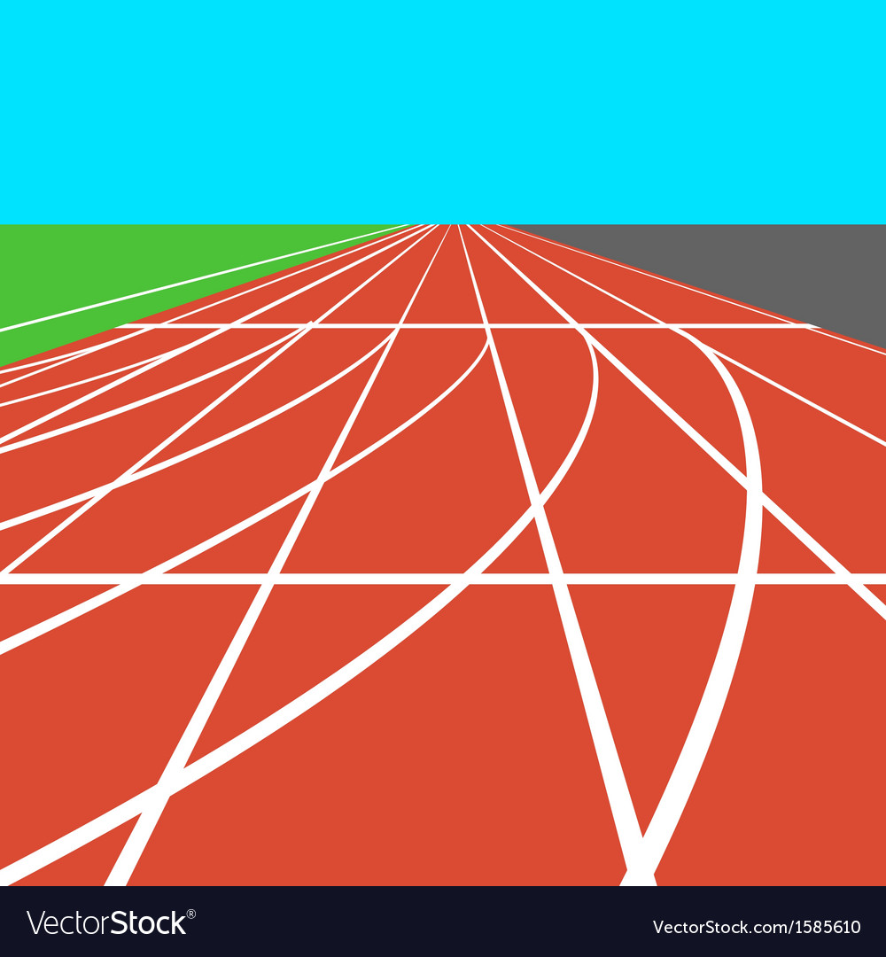 Red treadmill at the stadium with white lines vector | Price: 1 Credit (USD $1)
