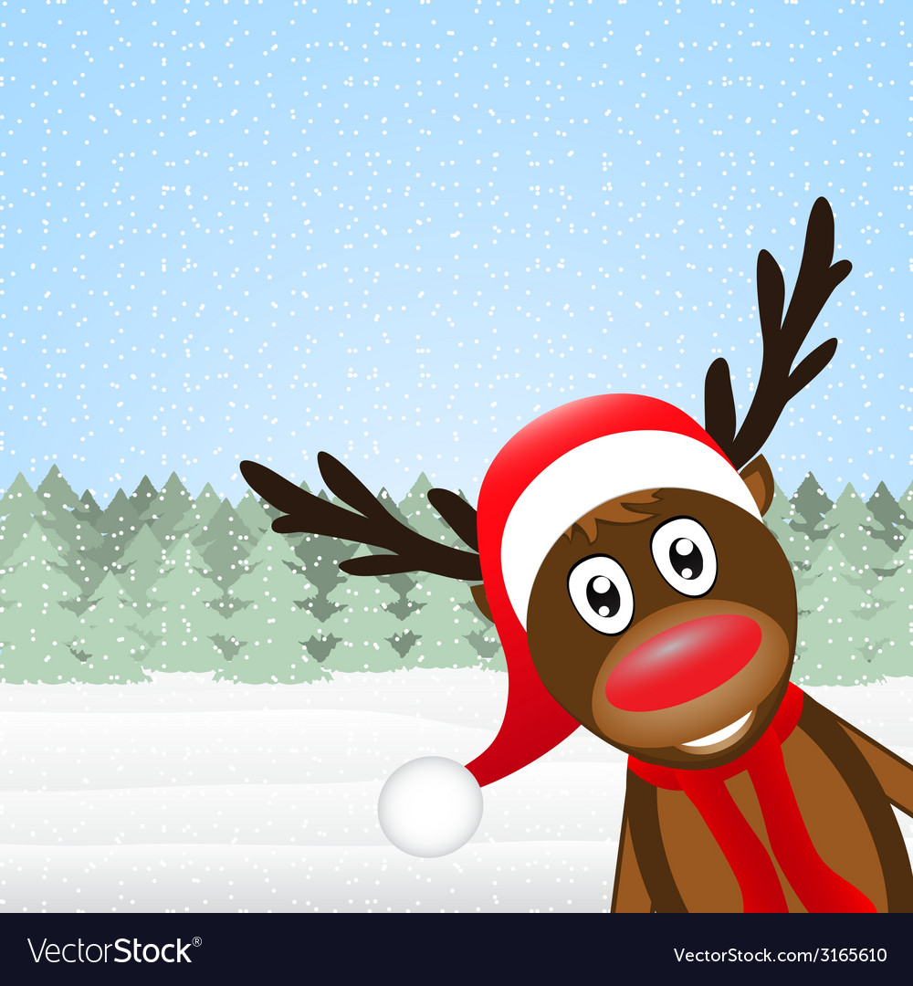 Reindeer peeking side in the forest vector | Price: 1 Credit (USD $1)