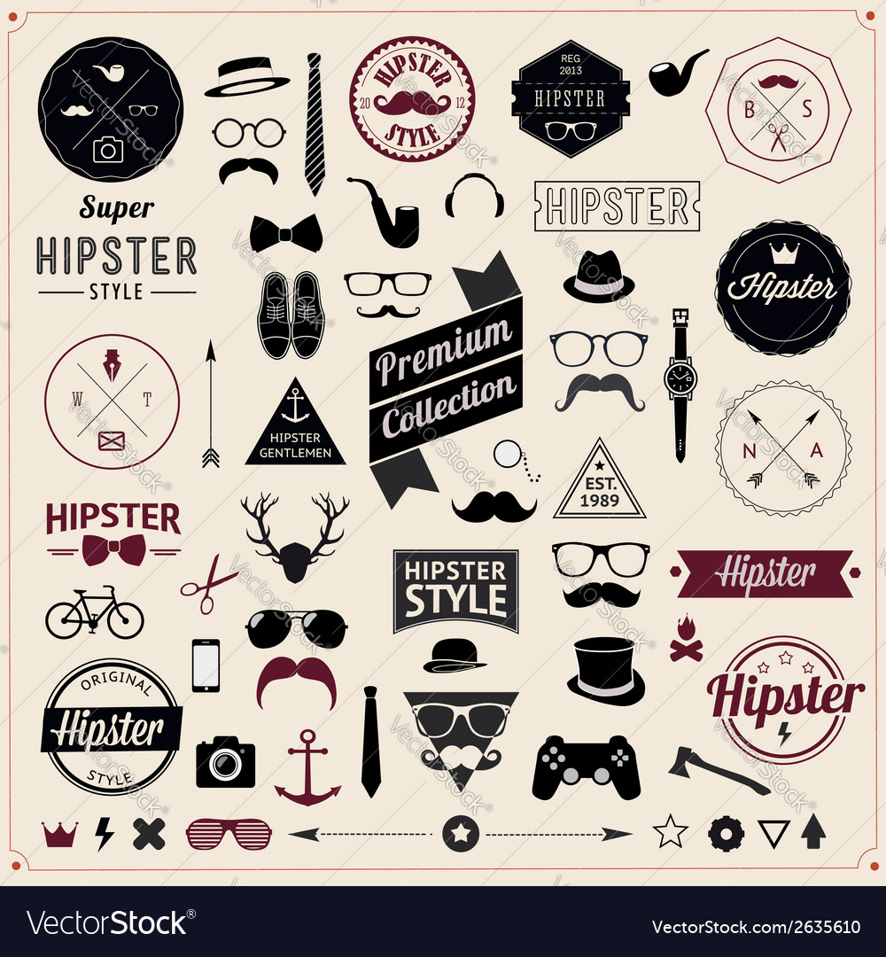 Set of vintage styled design hipster icons vector | Price: 1 Credit (USD $1)