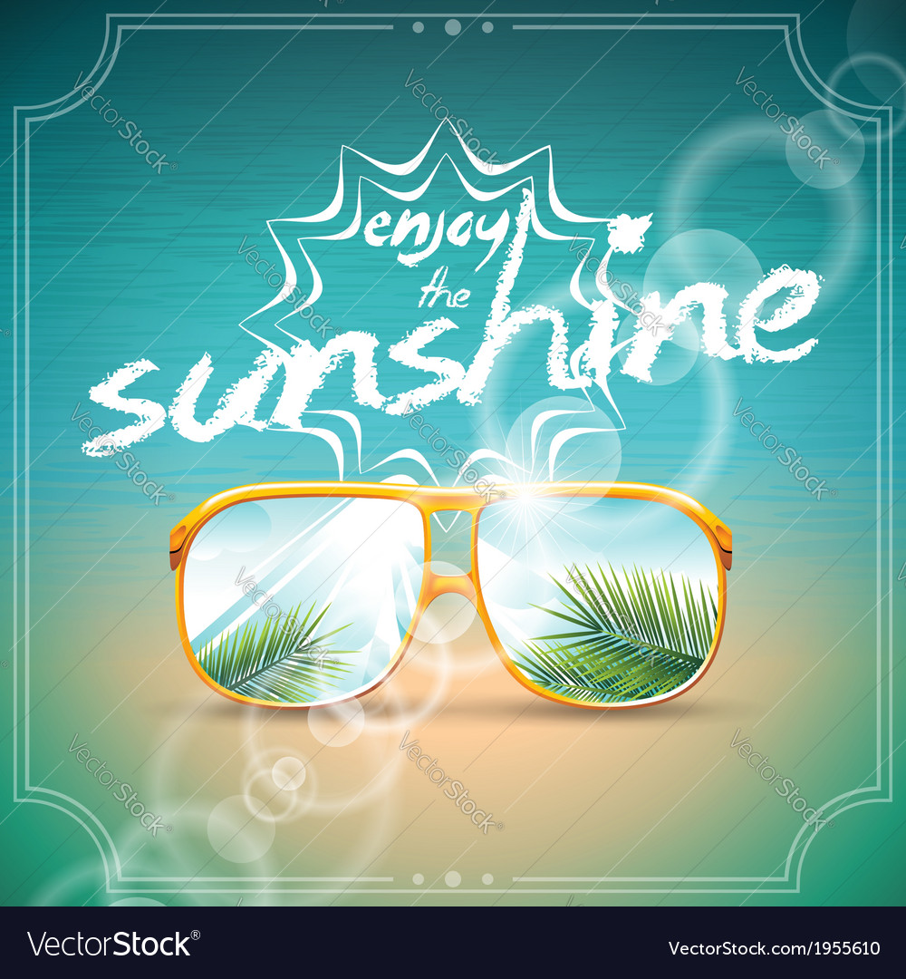 Summer holiday design with sunglasses vector | Price: 1 Credit (USD $1)