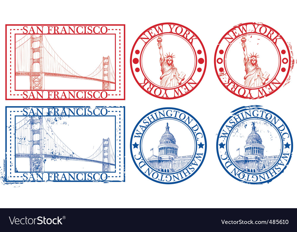 Usa famous cities stamps vector | Price: 1 Credit (USD $1)