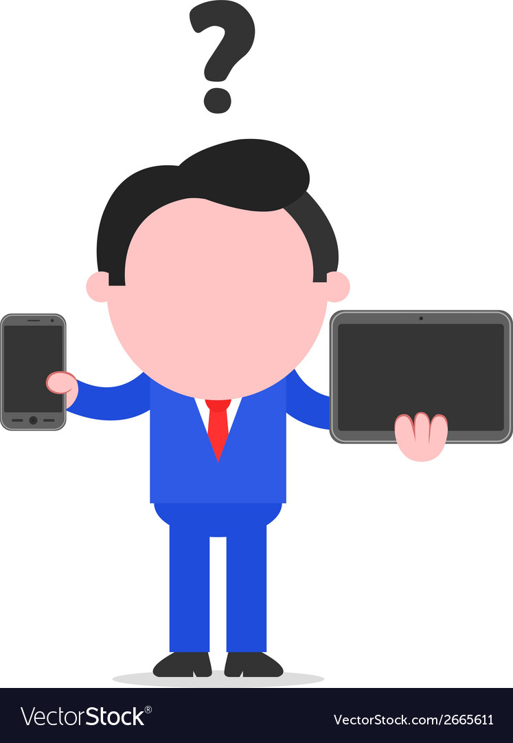 Businessman between smartphone and tablet vector | Price: 1 Credit (USD $1)