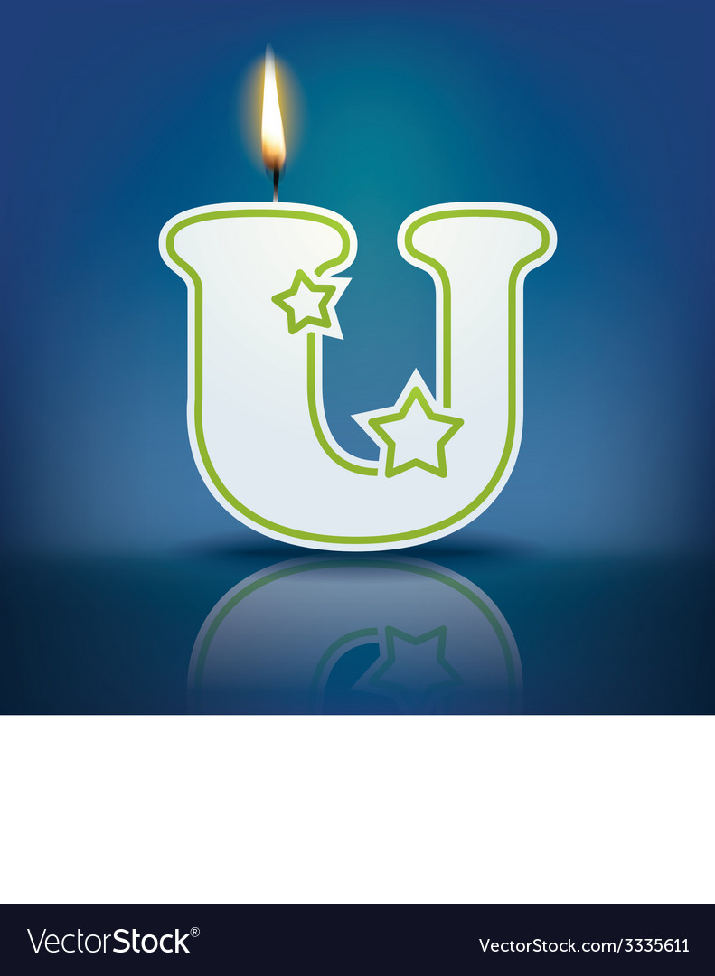Candle letter u with flame vector   Price: 1 Credit (USD $1)