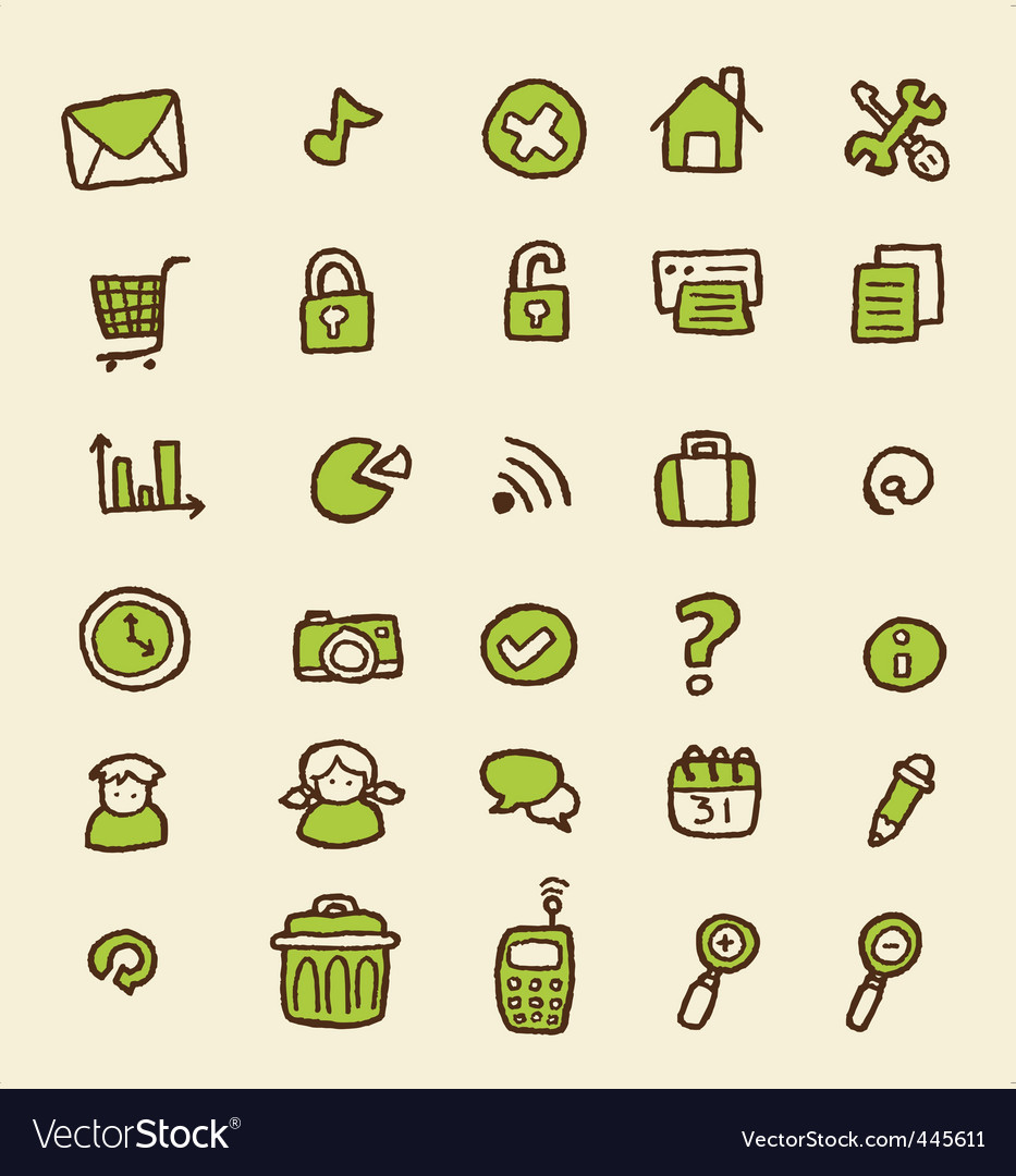 Doodle web icon vector | Price: 1 Credit (USD $1)