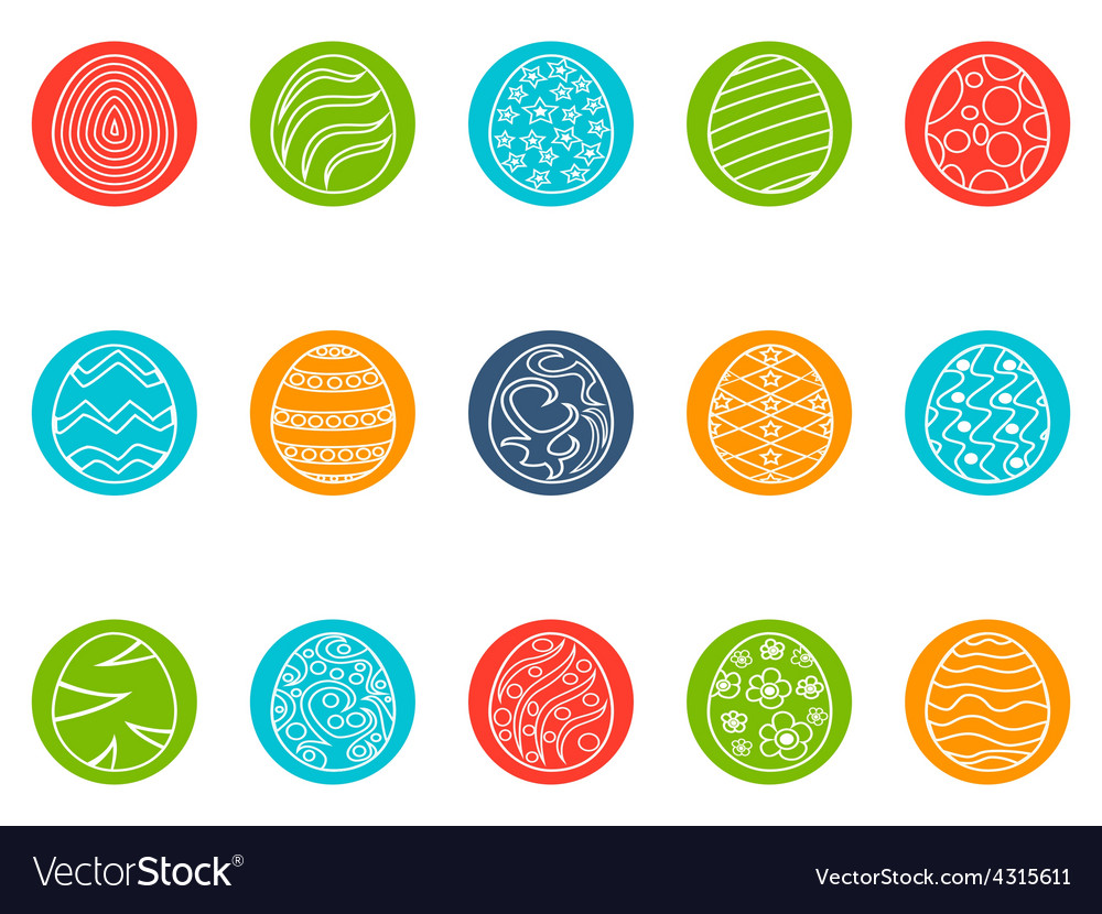 Easter egg round button icons set vector | Price: 1 Credit (USD $1)