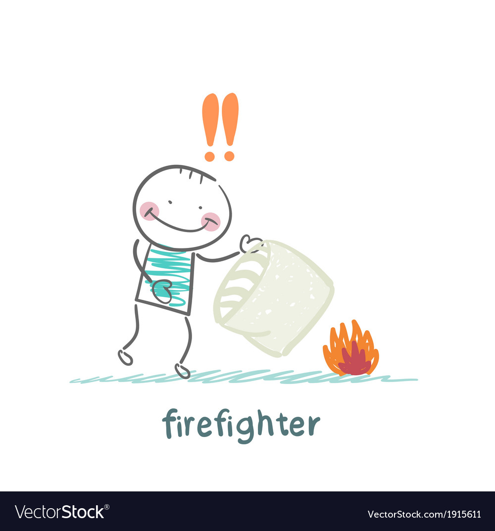 Firefighter extinguishes a fire pillow vector | Price: 1 Credit (USD $1)
