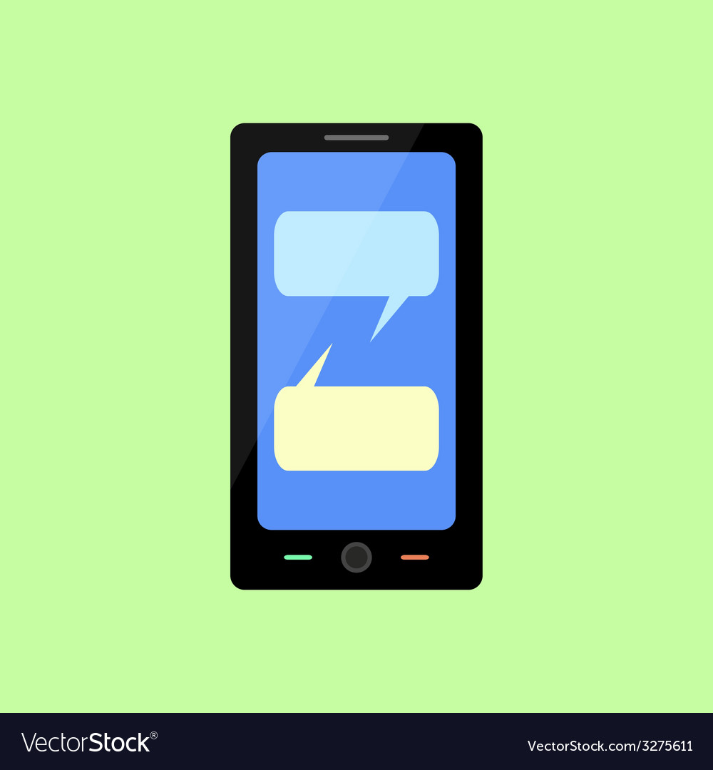 Flat style smart phone with chat bubbles vector | Price: 1 Credit (USD $1)