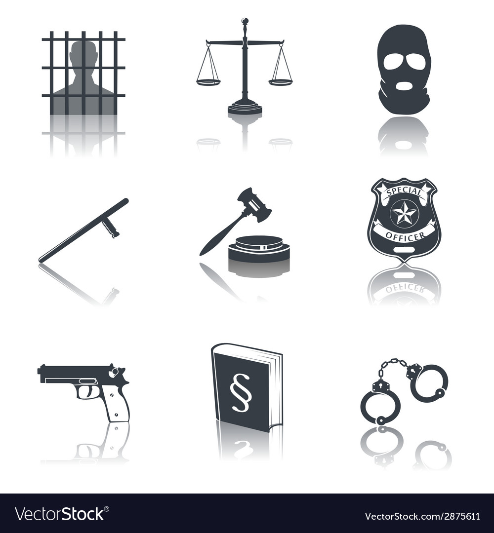 Law and justice icons black vector | Price: 1 Credit (USD $1)