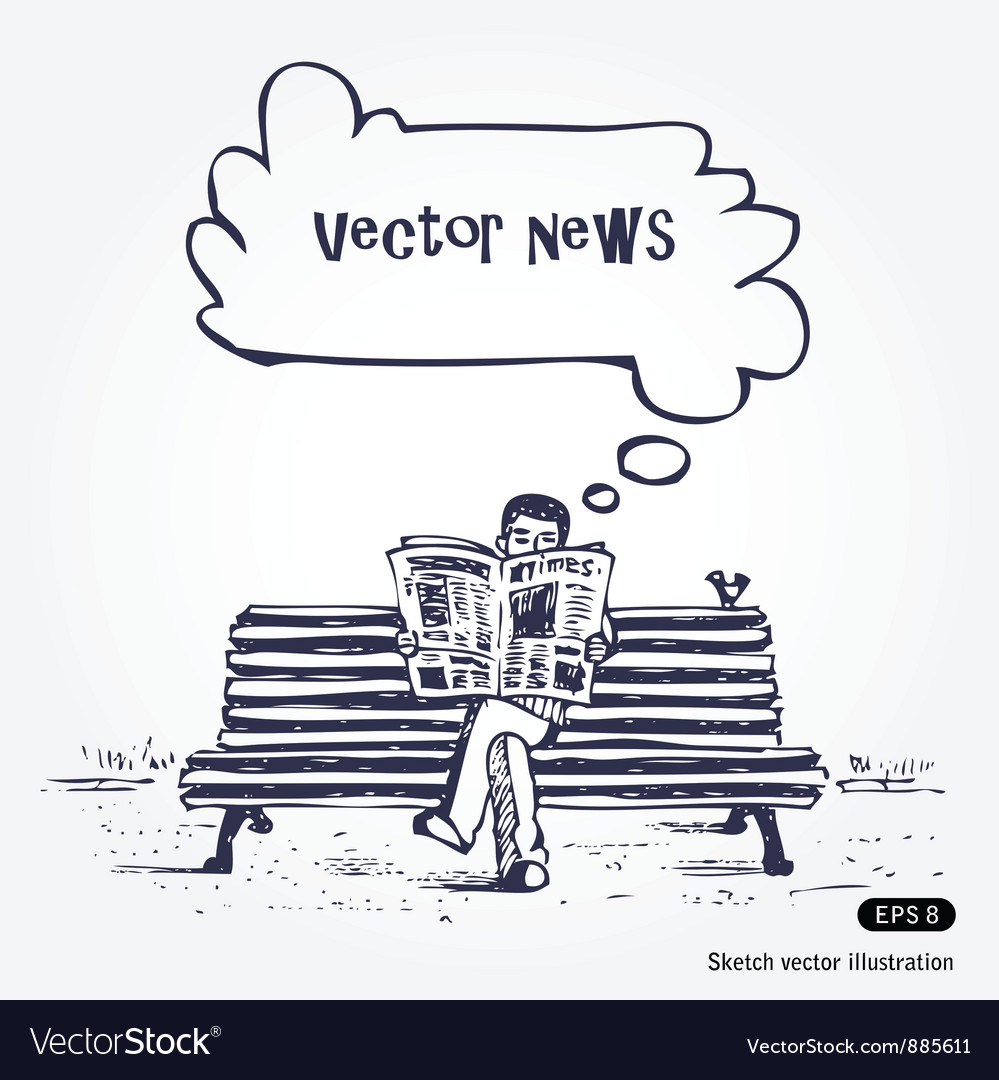 Man reading newspaper vector | Price: 1 Credit (USD $1)