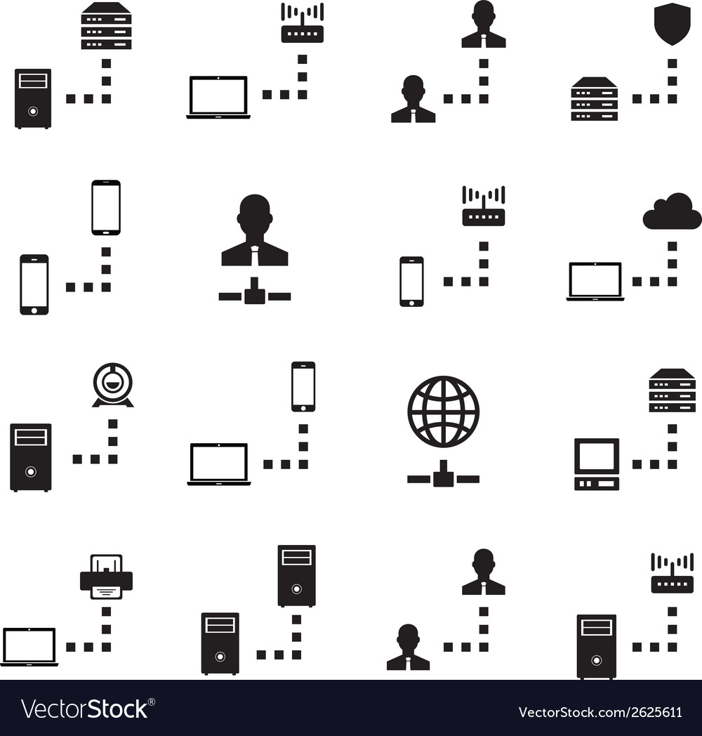 Network icon set vector | Price: 1 Credit (USD $1)