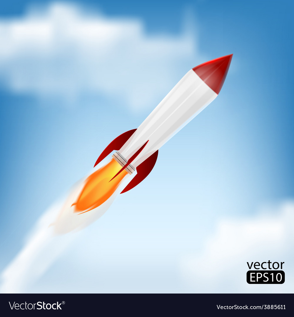 Rocket space ship on blue background vector | Price: 1 Credit (USD $1)