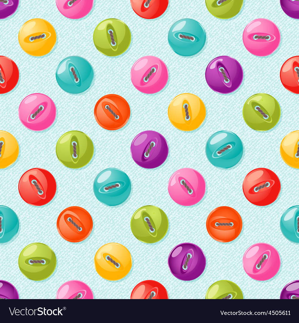 Seamless pattern with cute colorful buttons vector | Price: 1 Credit (USD $1)