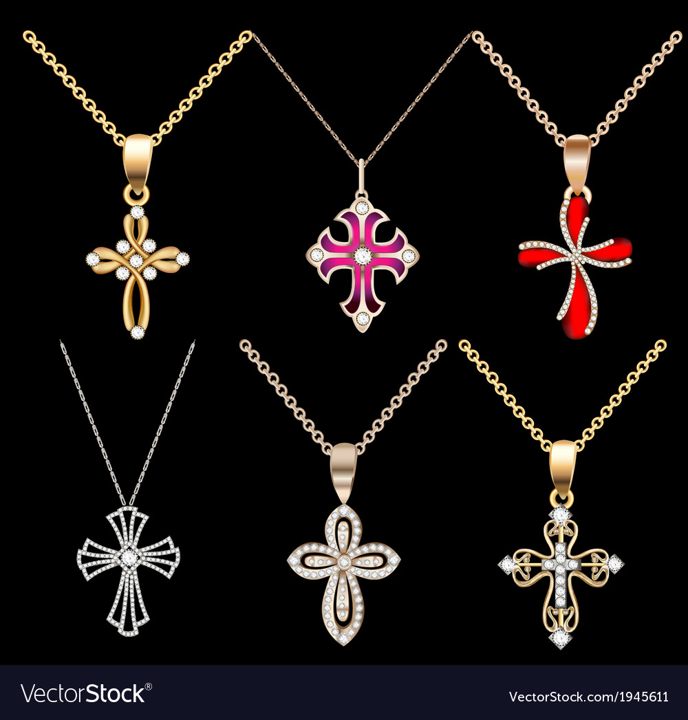 Set gold cross pendant vector | Price: 1 Credit (USD $1)
