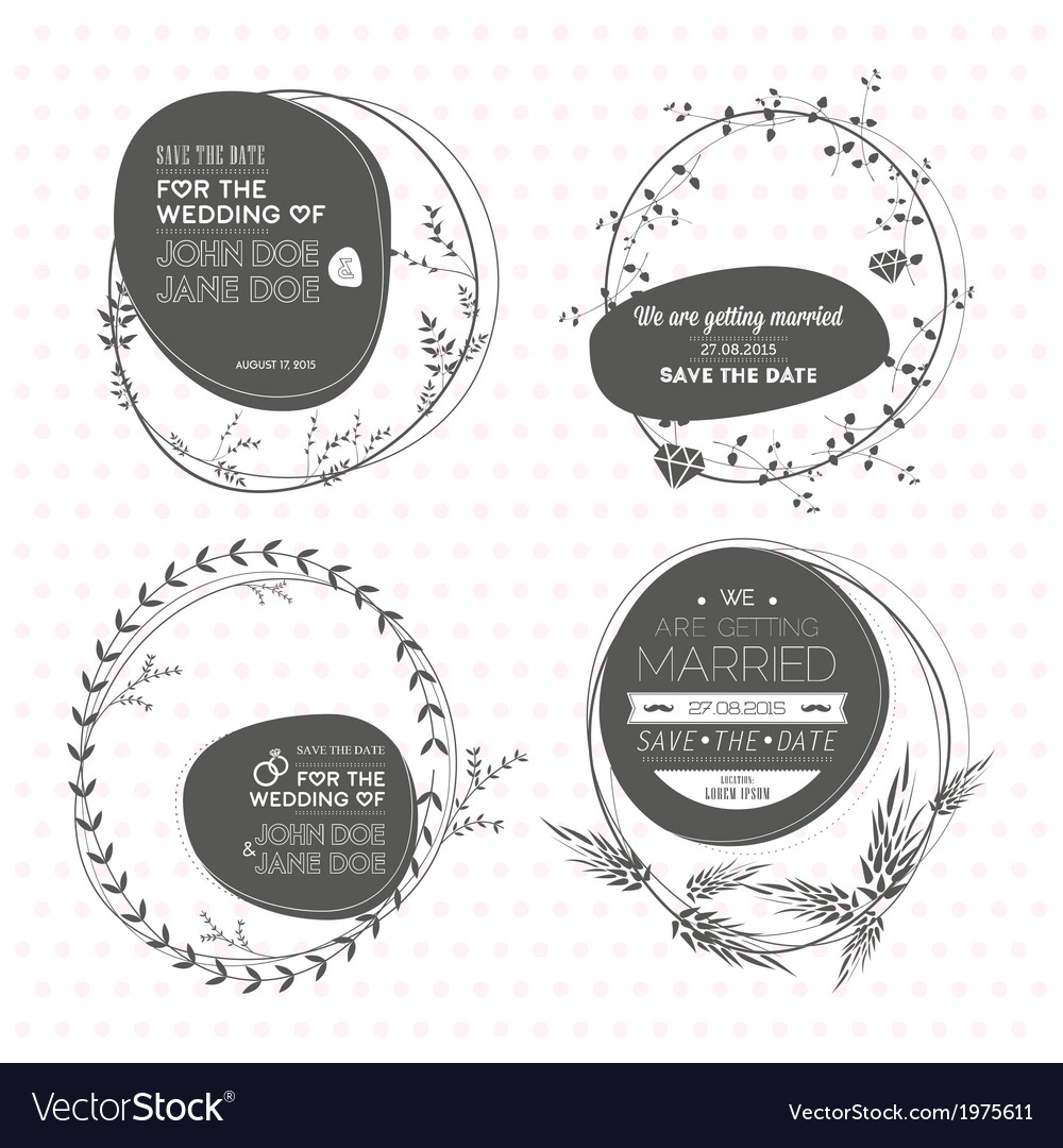 Set of floral wedding stamps vector | Price: 1 Credit (USD $1)