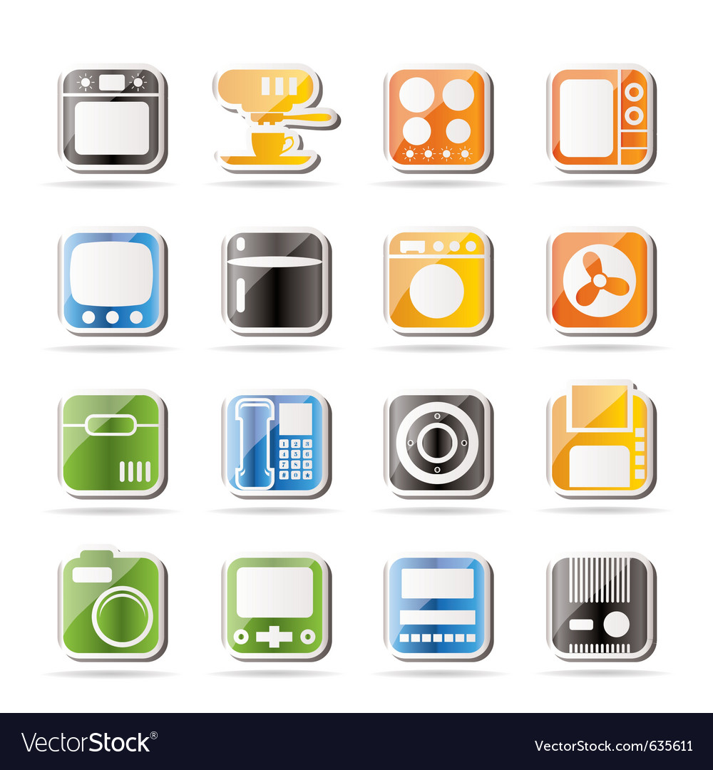 Simple home and office equipment icons vector | Price: 1 Credit (USD $1)
