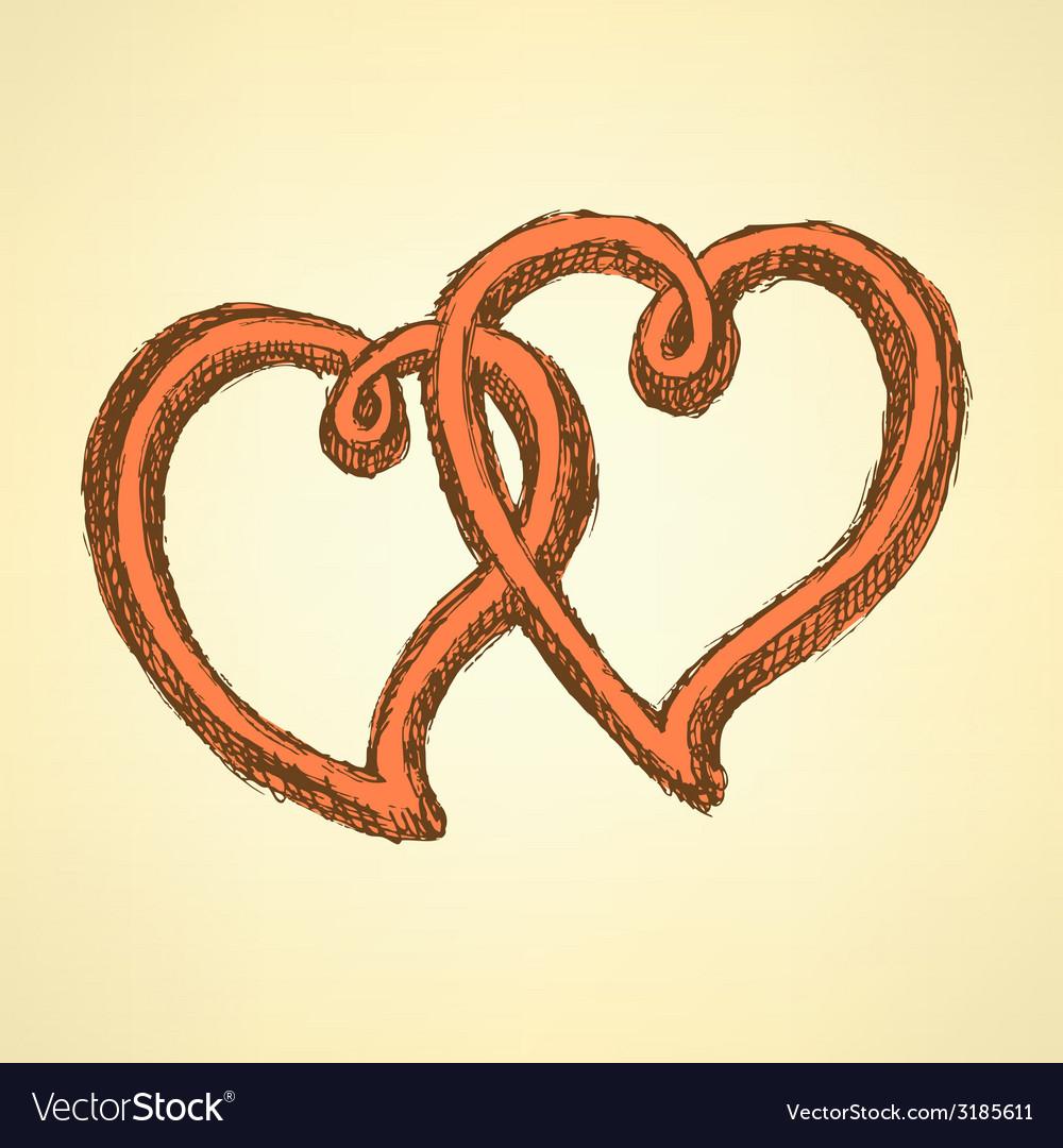 Sketch hearts in vintage style vector | Price: 1 Credit (USD $1)