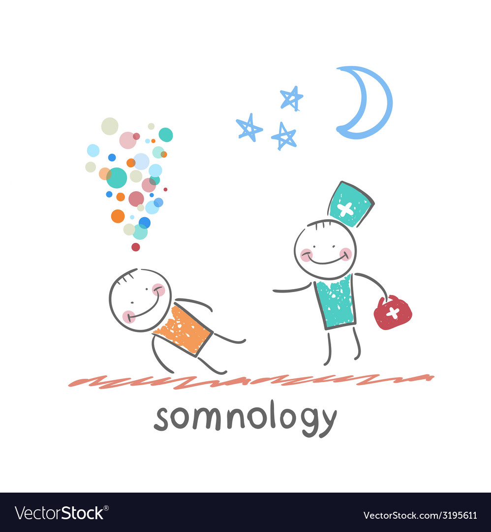 Somnology come to a patient who is sleeping vector | Price: 1 Credit (USD $1)
