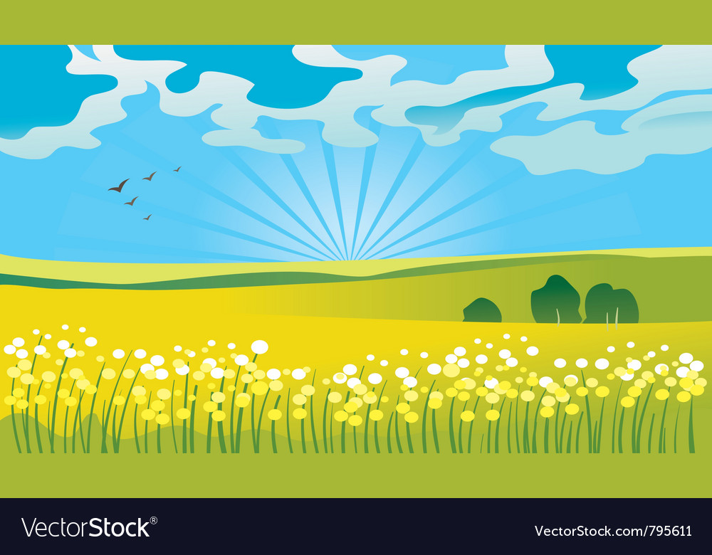 Summer landscape vector | Price: 1 Credit (USD $1)