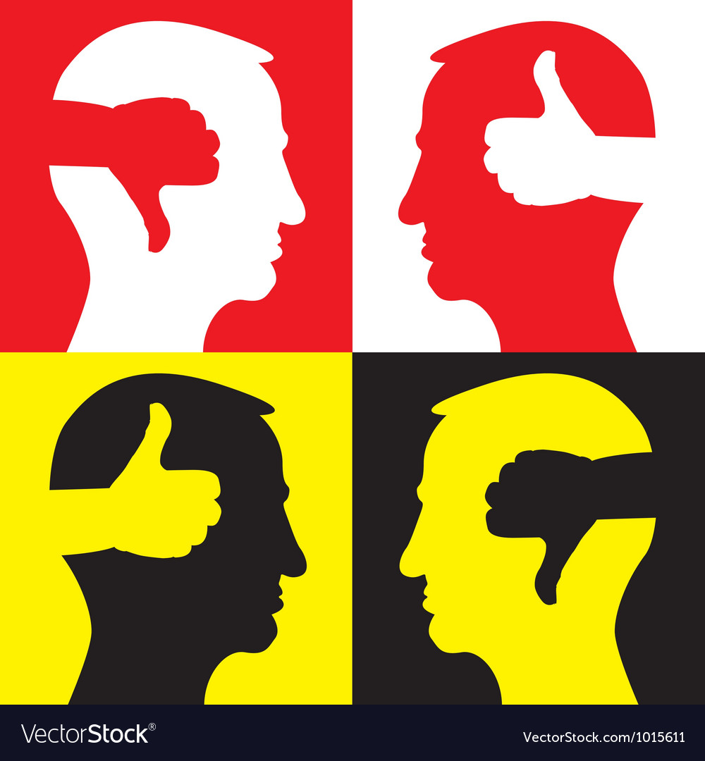 Thumb head silhouette vector