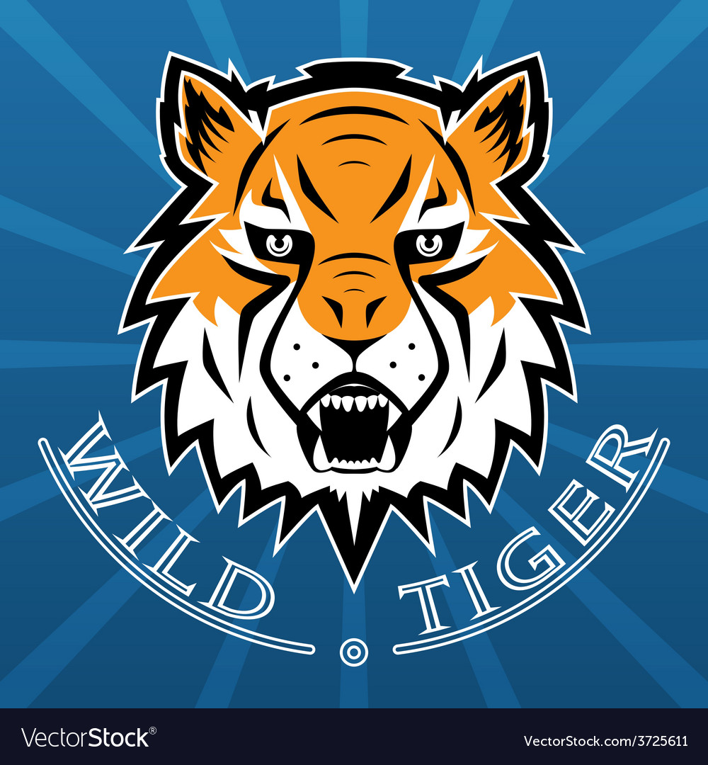 Tiger logo team symbol sport mascot icon isolated vector | Price: 1 Credit (USD $1)
