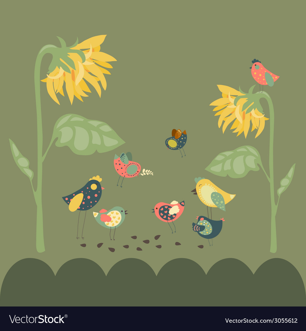 Birds pecking sunflower seeds vector | Price: 1 Credit (USD $1)