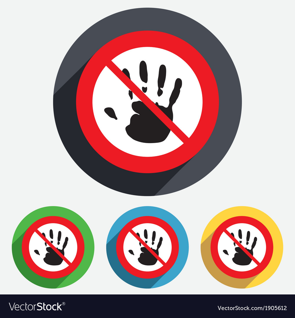 Do not touch hand print sign icon stop symbol vector | Price: 1 Credit (USD $1)