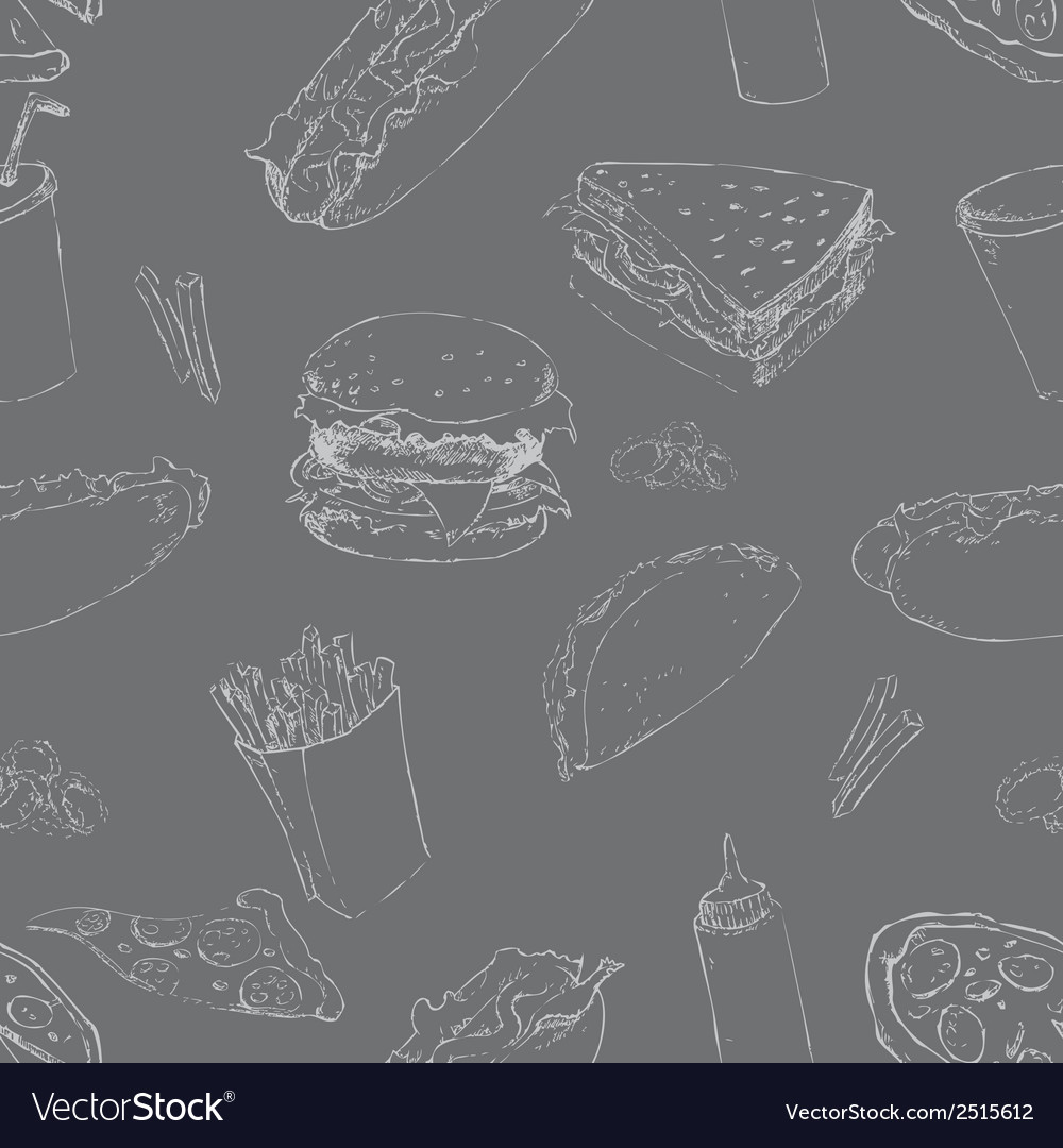 Fast food seamless background vector   Price: 1 Credit (USD $1)