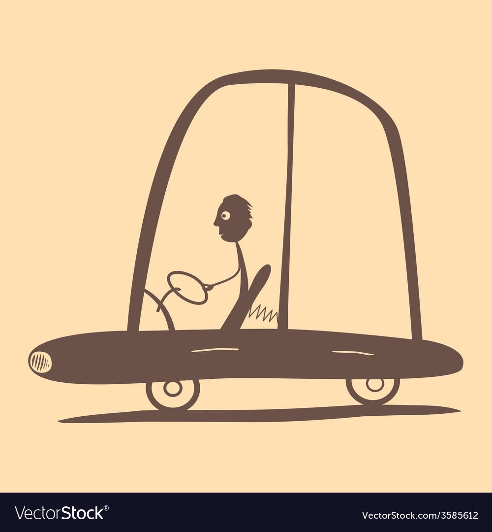 Flat design retro man driving car vector | Price: 1 Credit (USD $1)