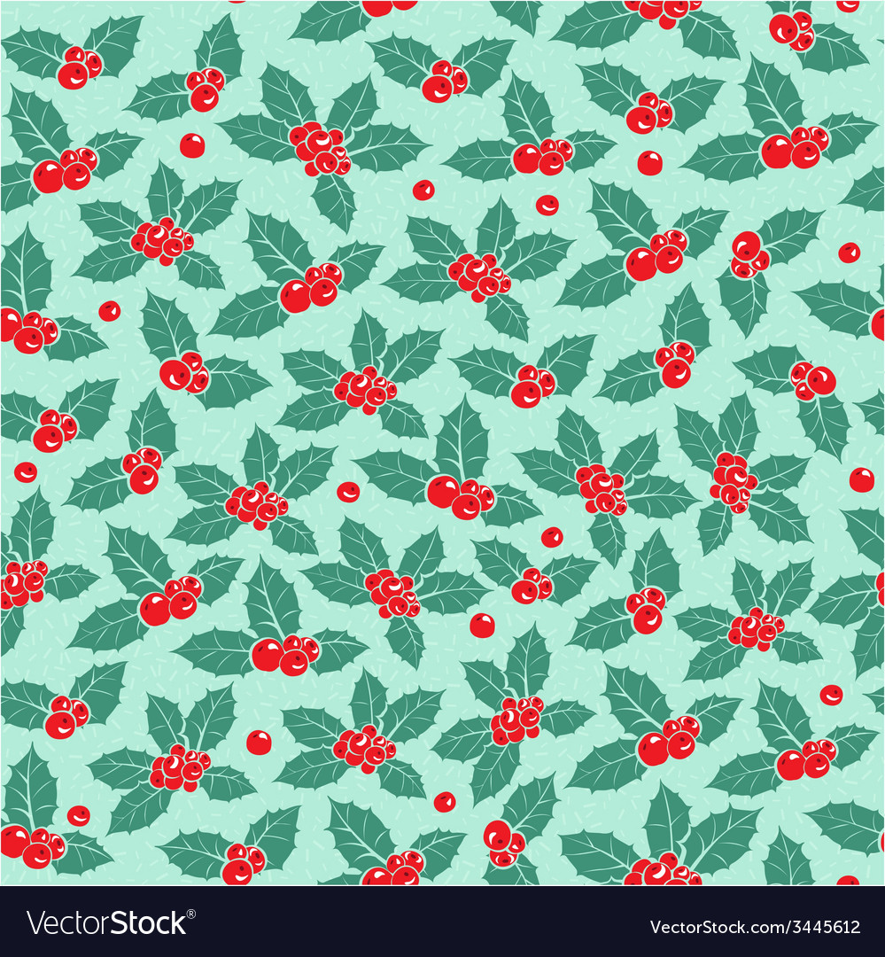 Holly berry flat seamless pattern vector | Price: 1 Credit (USD $1)
