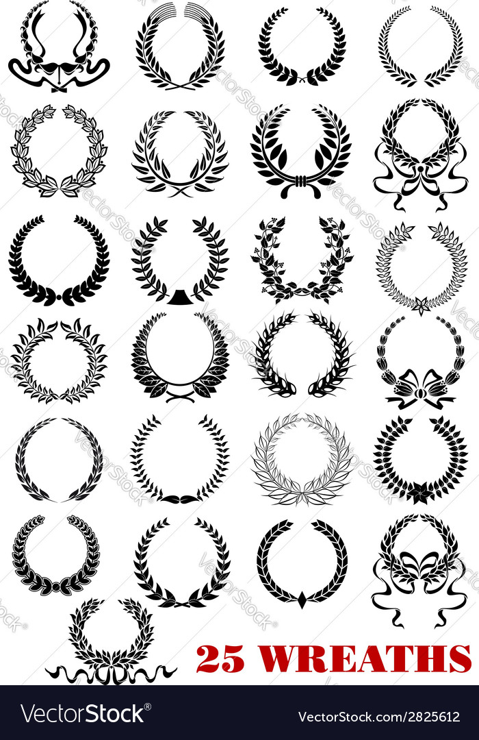Laurel wreaths heraldic set vector | Price: 1 Credit (USD $1)