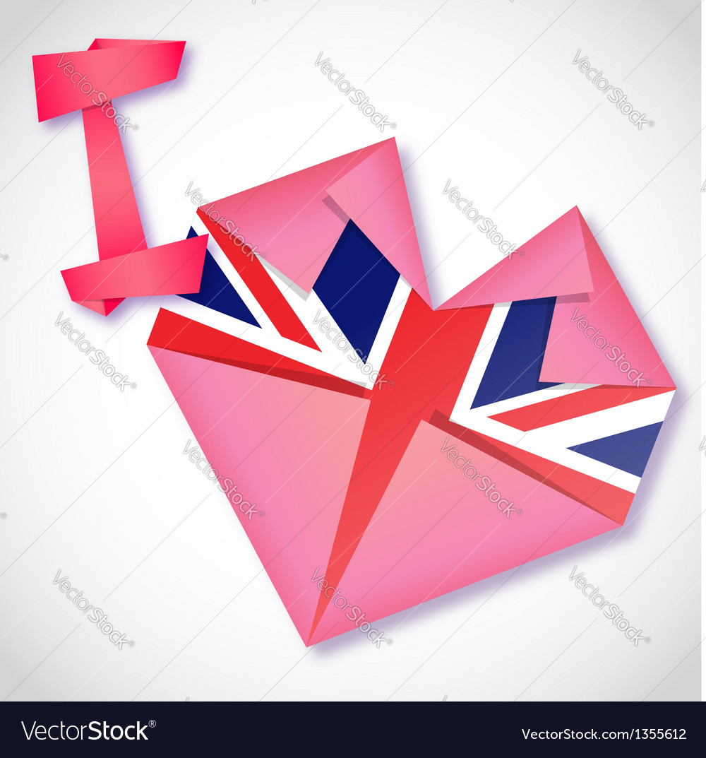 Origami paper i love united kingdom heart card vector | Price: 1 Credit (USD $1)