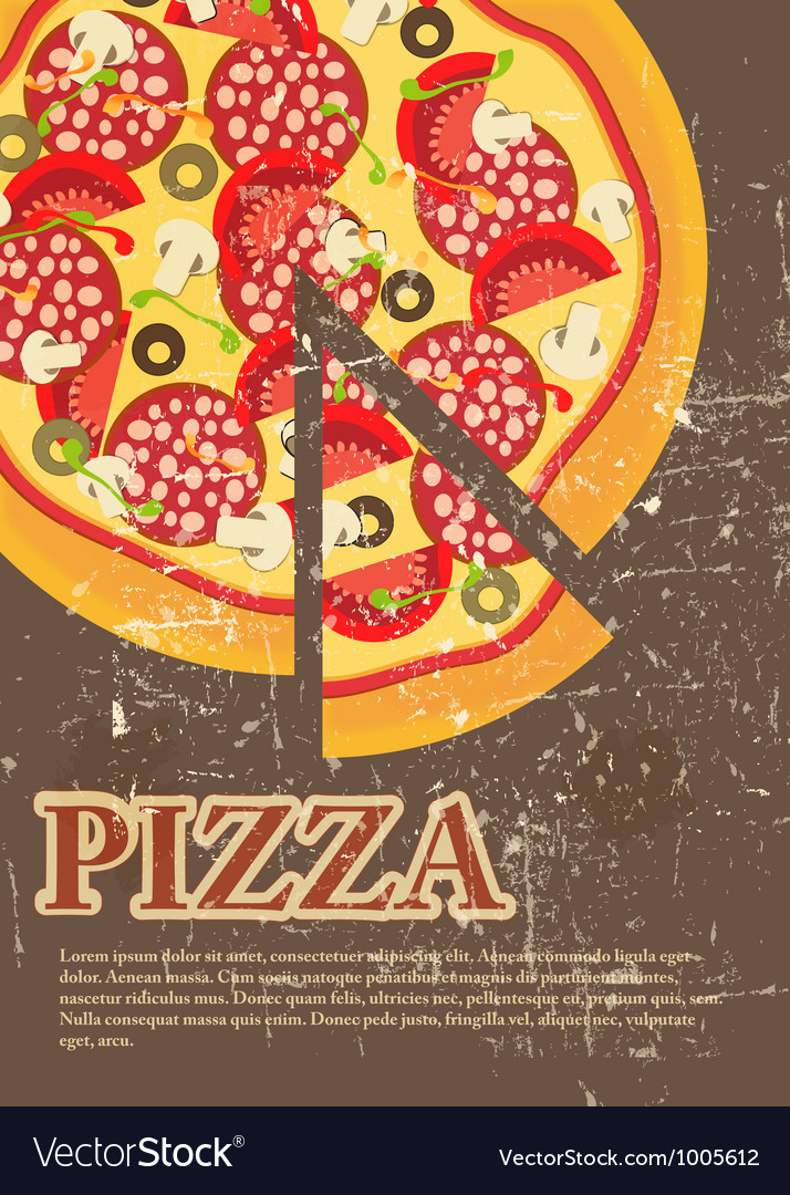 Pizza menu template in vintage retro grunge style vector | Price: 1 Credit (USD $1)