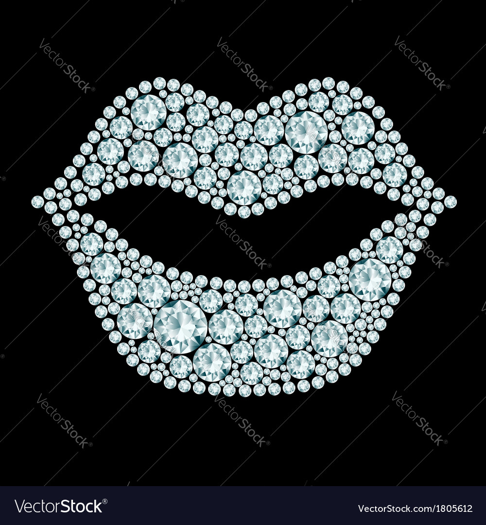 Plump lips made of diamonds vector | Price: 1 Credit (USD $1)