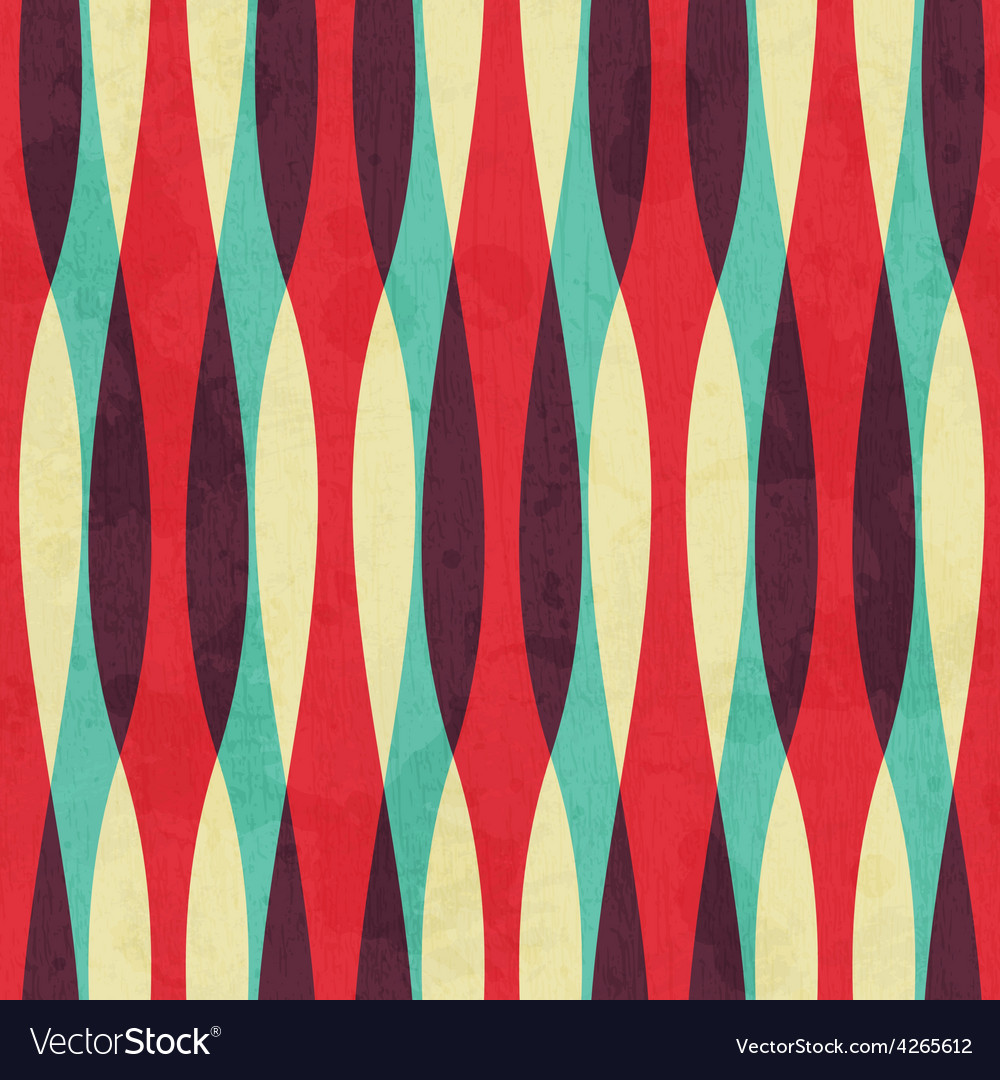 Retro curves seamless pattern with grunge effect vector