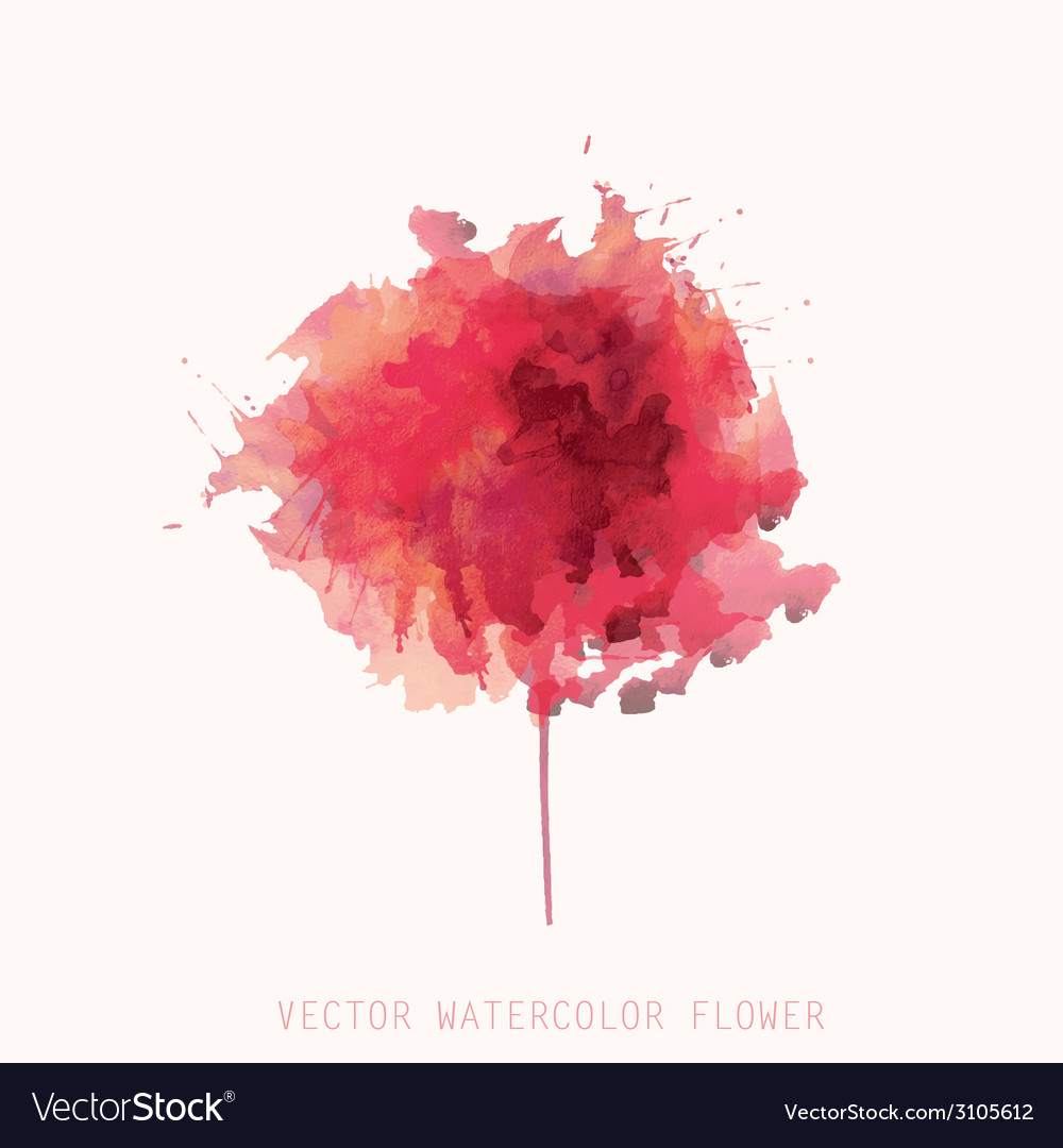 Watercolor red flower vector | Price: 1 Credit (USD $1)