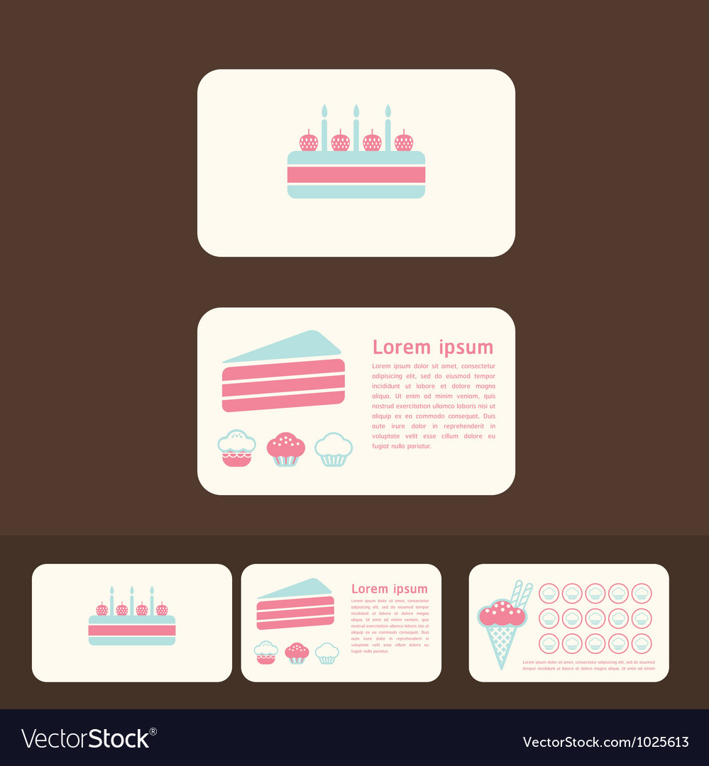 Cakes business cards and promotional cards vector | Price: 1 Credit (USD $1)