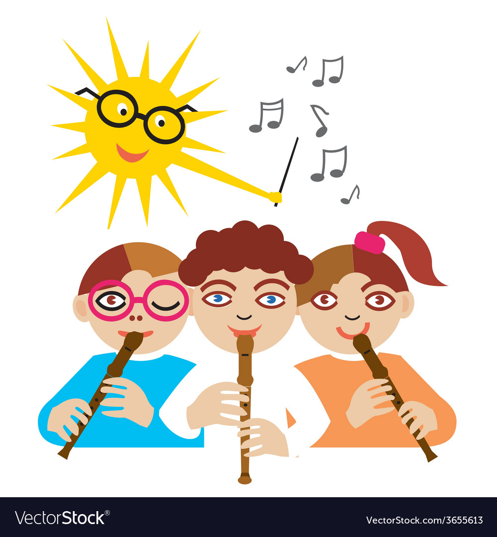Children playing the flute vector | Price: 1 Credit (USD $1)