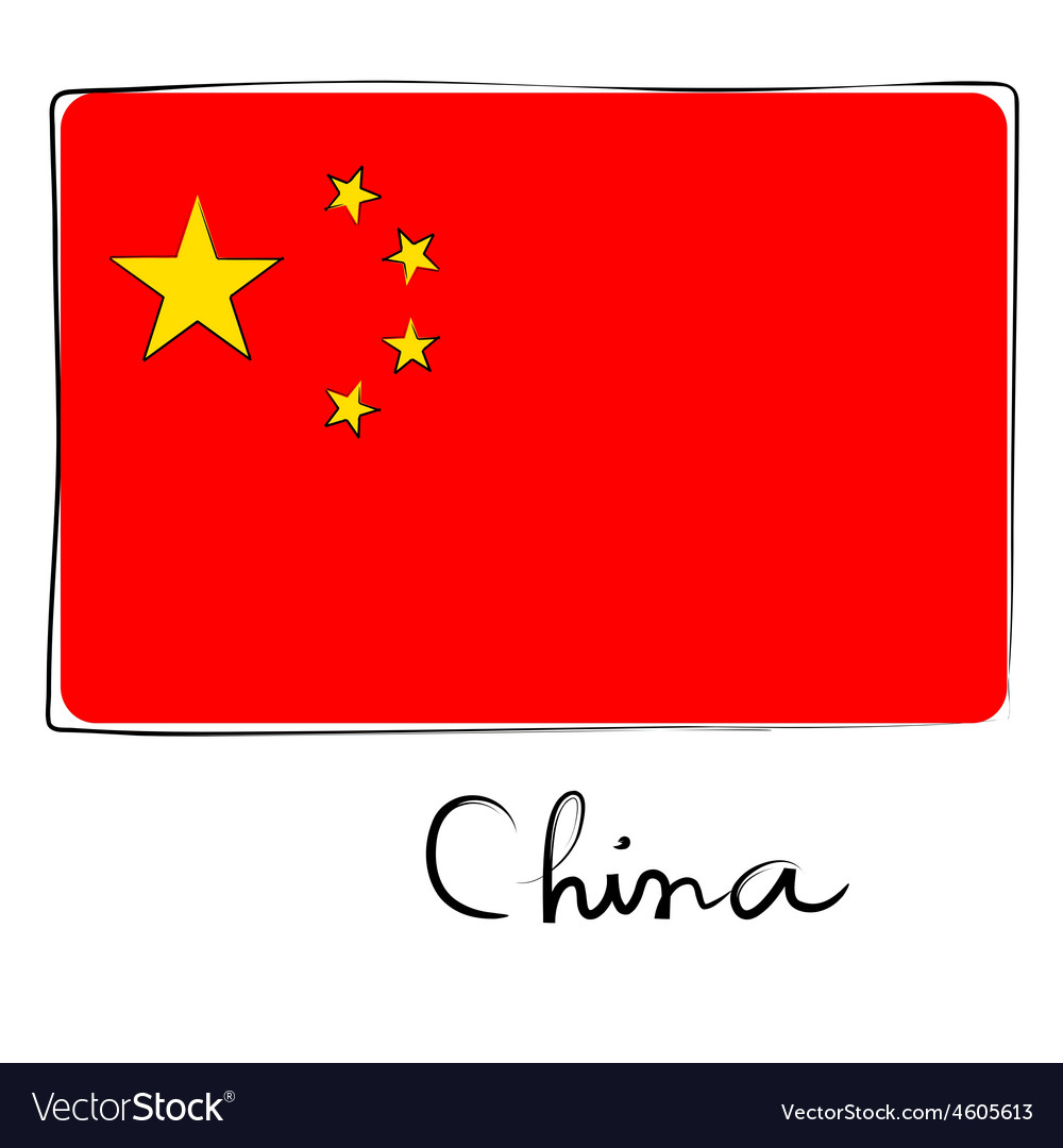 China flag doodle vector