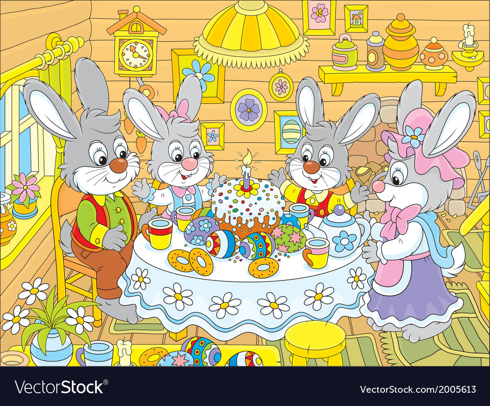 Easter bunnies at the festive table vector | Price: 1 Credit (USD $1)