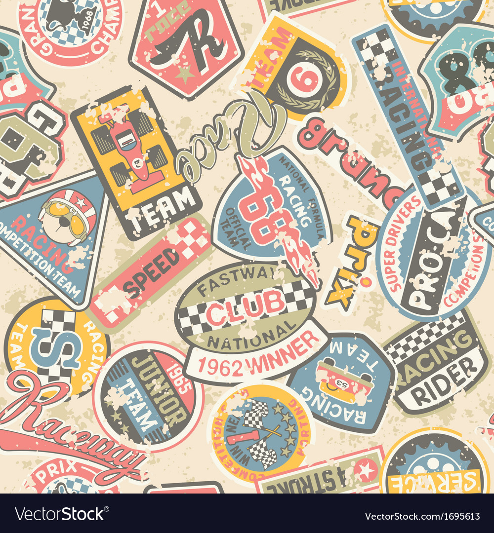 Kids racing badges patchwork vector | Price: 1 Credit (USD $1)