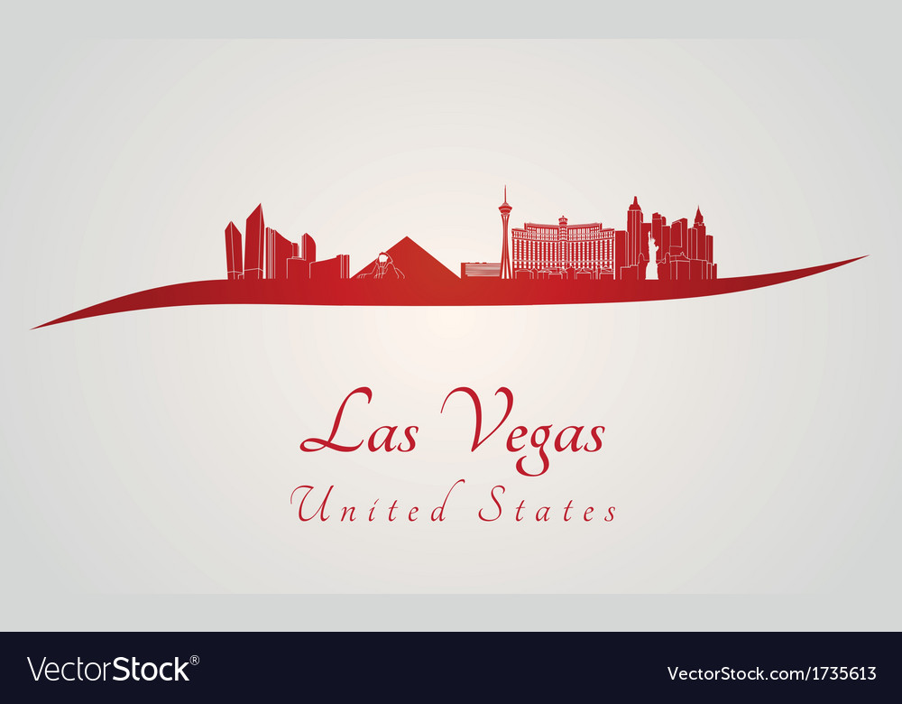 Las vegas skyline in red vector | Price: 1 Credit (USD $1)