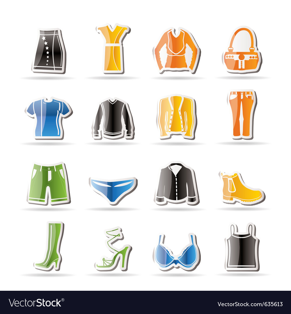 Simple clothing and dress icons vector | Price: 1 Credit (USD $1)